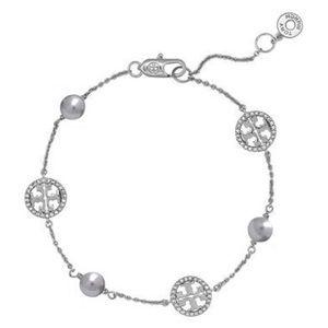 Tory Burch Delicate Crystal Pearl Logo Bracelet